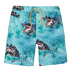 bluezoo - Boys' blue crocodile print swim shorts