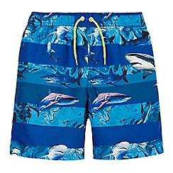 bluezoo - Boys' blue shark print swim shorts