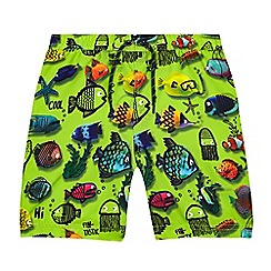 bluezoo - Boys' green fish print swim shorts