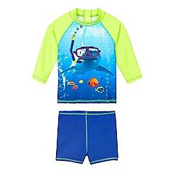bluezoo - Boys' blue shark print two piece swim set