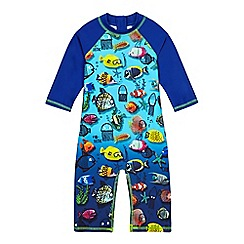 bluezoo - Boys' blue fish print rasher suit