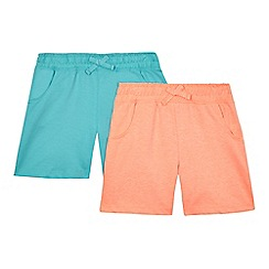 bluezoo - Pack of two girls' orange and light green jersey shorts