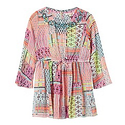 bluezoo - Girls' multi-coloured Aztec kaftan dress