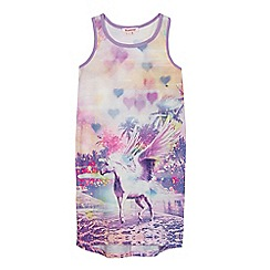 bluezoo - Girls' multi-coloured unicorn print vest dress
