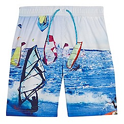 bluezoo - Boys' white and blue windsurfing print swim shorts