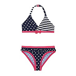 bluezoo - Girls' navy and pink spotted and striped bikini set