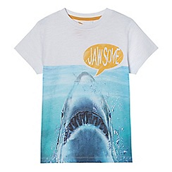 bluezoo - Boys' white shark print t-shirt
