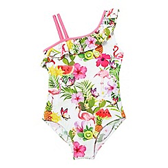 bluezoo - Girls' multi-coloured tropical print swimsuit