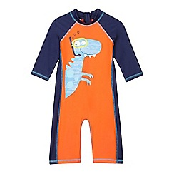 bluezoo - Boys' orange dinosaur print rasher suit