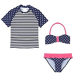 bluezoo - Girls' navy and white striped and polka dot print three piece swim set