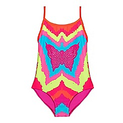bluezoo - Girl's multi-coloured butterfly print swimsuit
