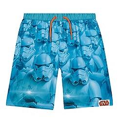 Star Wars - Boys' blue 'Stormtrooper' print swim shorts