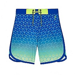 Baker by Ted Baker - Boys' blue ombre 4 way stretch geometric print swim shorts