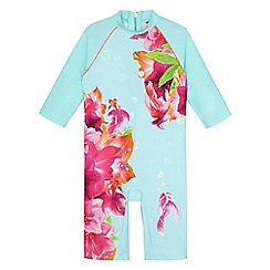 Baker by Ted Baker - Girls' light blue underwater floral print sun safe swimsuit