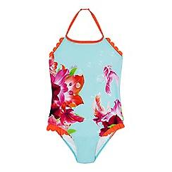 Baker by Ted Baker - Girls' underwater floral print halter neck swimsuit