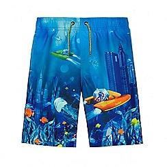 Baker by Ted Baker - Boys' blue underwater city print swim shorts