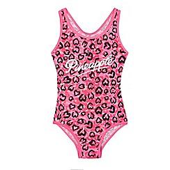 Pineapple - Girls' neon pink leopard print swimsuit