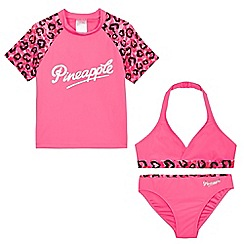 Pineapple - Girls' pink leopard print three piece set