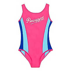 Pineapple - Girls' pink colour block swim suit
