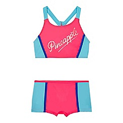 Pineapple - Girls' pink colour block tankini