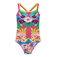 Zoggs - Girls' multi-coloured flower patterned swimsuit