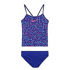 Nike - Girls' blue 'Deceptive Glow' v-back tankini