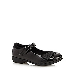 Debenhams - Girl's black patent bow strap shoes