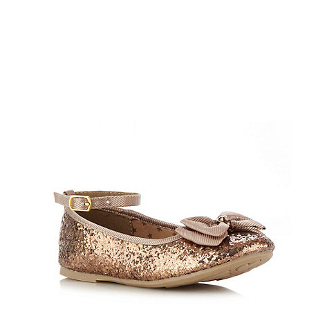 bluezoo - Girl+s bronze glitter bow pumps