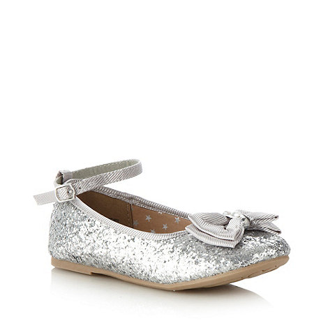 bluezoo - Girl+s silver glitter bow pumps