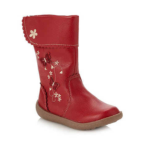 bluezoo - Girl+s red applique butterfly boots