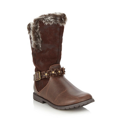 bluezoo - Girl+s brown faux fur lined biker boots
