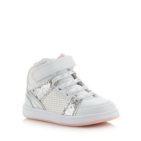 bluezoo - Girl+s white glitter panelled high top trainers