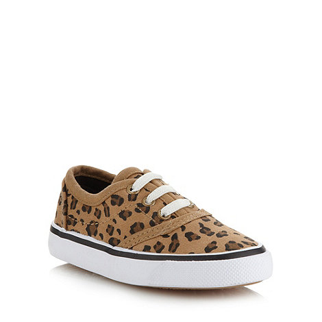 bluezoo - Girl's brown leopard canvas trainers