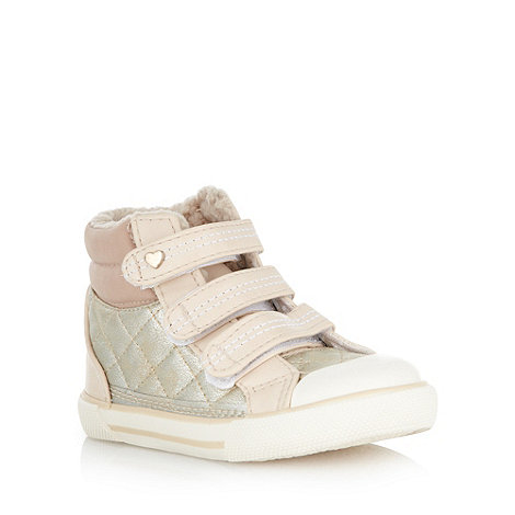 bluezoo - Children+s gold quilted borg lined trainers