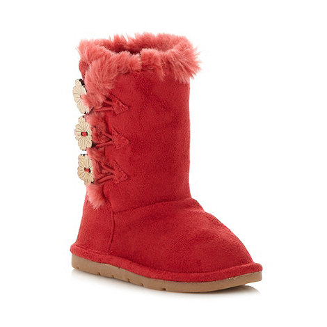 bluezoo - Girl+s red triple button pull on boots