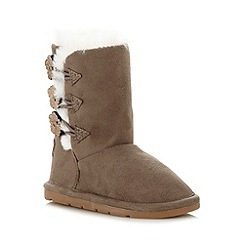 bluezoo - Girl's grey triple button pull on boots