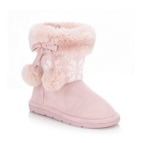 bluezoo - Girl+s pink fairisle boots