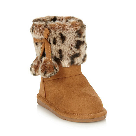 bluezoo - Girl+s tan faux fur animal cuff boots