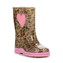 bluezoo - Girl's tan leopard wellies