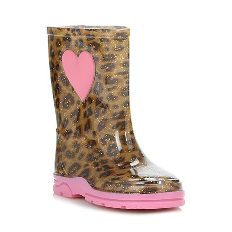 bluezoo - Girl+s tan leopard wellies