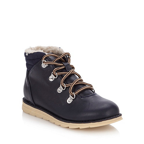 bluezoo - Boy+s navy borg lined boots