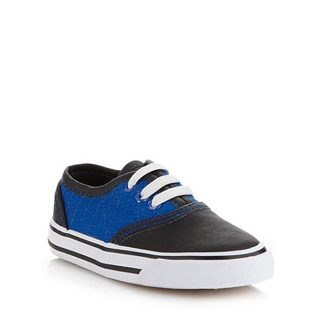 bluezoo - Boy+s blue embroidered canvas trainers