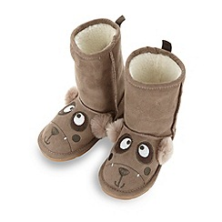 bluezoo - Boy's brown applique bear pull on boots