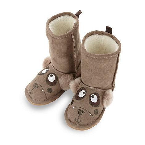 bluezoo - Boy+s brown applique bear pull on boots