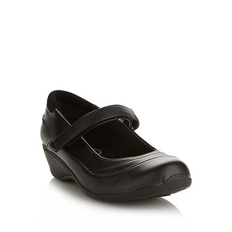 bluezoo - Girl+s black wedge strap shoes