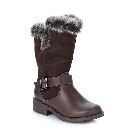 bluezoo - Girl's brown faux fur lined boots