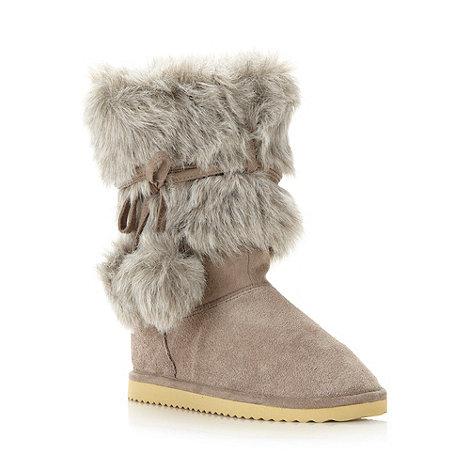 Mantaray - Girl+s grey suede faux fur boots