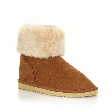 Mantaray - Girl+s tan suede leather faux fur cuff boots