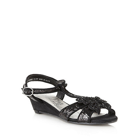 bluezoo - Girl+s black applique butterfly wedge sandals