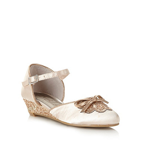 bluezoo - Girl's light gold glitter wedge shoes